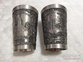 【超珍罕 超漂亮】西洋 欧洲 酒杯 浮雕 2个合售 可以分开出售 95% 锡 哥廷根 威尔海姆