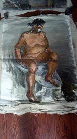 老油画:人物 长117厘米*90厘米,年代不详【 油画25】