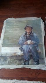 老油画:人物 长117厘米*90厘米,年代不详【 油画26】