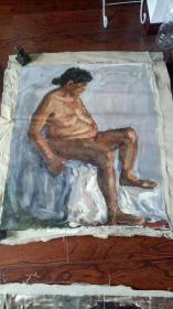 老油画:人物 长117厘米*90厘米,年代不详【 油画27】