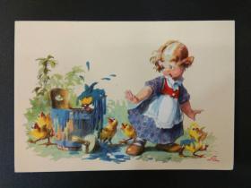 老 明信片 德国 男孩 女孩 系列 847-10
