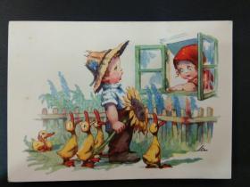 老 明信片 德国 男孩 女孩 系列 900-6
