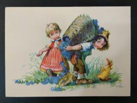 老 明信片 德国 男孩 女孩 系列 847-11