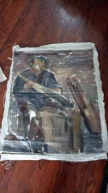老油画:人物 长117厘米*90厘米,年代不详【 油画28】