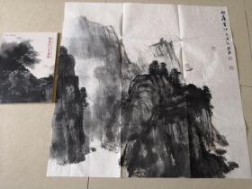 著名书画家《杨进民设色山水画一幅》保真(附画册一本)