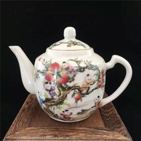 精美民国时期粉彩人物九子攀桃茶壶瓷器摆件
