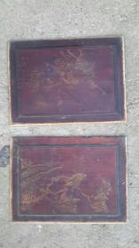 金粉绘画板2片,木质旧物,31.5×23.5厘米