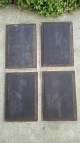 绘画花鸟,木质清代旧物4片。33×23厘米