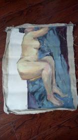 老油画:人物 长80厘米*68厘米,年代不详【 油画31】