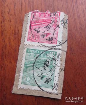 华北普票面值100圆和200圆邮票销1949年12月18日绥远卓资山--邮戳