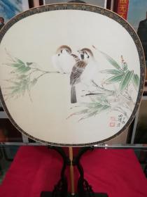 刘国胜,工笔花鸟圆扇