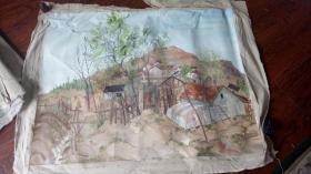 老油画:  乡村风光  长130厘米*96厘米 ,年代不详【油画32】