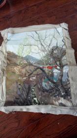 老油画:  乡村风光  长110厘米*90厘米 ,年代不详【油画34】