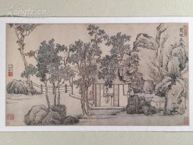 美国大都会艺术博物馆藏的江南四大才子之一、明代著名画家、书法家、道家、文学家文征明《丛桂斋图 》 名画1:1微喷复制精品
