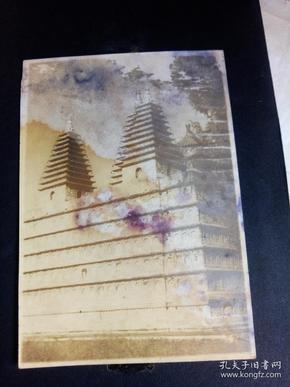 民国原版带衬板老北京照片:双塔  [10.3×14.5厘米]