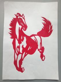 奔马 (一对) 传统手工剪纸 民间艺术 托裱 (年代:2000年)