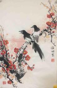 【保真】山西省美协会员、著名画家段福所小品花鸟