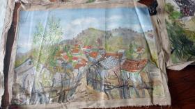 老油画:  乡村风光  长110厘米*90厘米 ,年代不详【油画39】
