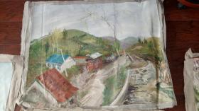 老油画:  乡村风光  长110厘米*90厘米 ,年代不详【油画38】