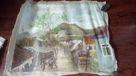 老油画:  乡村风光  长110厘米*90厘米 ,年代不详【油画36】
