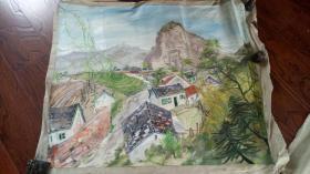 老油画:  乡村风光  长110厘米*90厘米 ,年代不详【油画35】