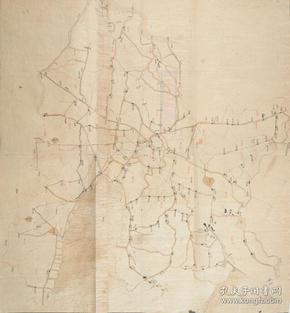 《常州老地圖》《常州地圖》,清道光《常州村鎮道路橋梁圖》繪制詳細,請看圖片。原圖現藏國外,原圖高清復制。開幅巨大84*89CM,裱框后,風貌好。
