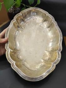 西洋 欧洲古董 德国 餐具 银器 银盘 830银 镀金 制造厂商Bremen Koch & Bergfeld 31x20cm 428克