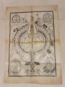 清早期 藏传佛教木版印制《千手观音》72*51厘米  泥金涂色