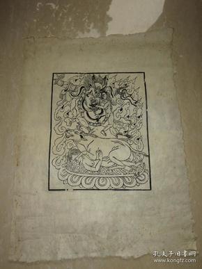 清代 西藏 木板曼荼罗画  一幅(54*40厘米)  四