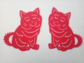 双猫(一对) 传统手工剪纸 民间艺术 未托裱 (年代:2000年)