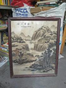 精品手绘山水石板画带框(46.5/56厘米)净重达7公斤