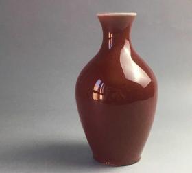 郎窑红釉瓶 台湾造