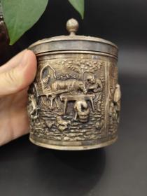 西洋 欧洲古董 镀银 茶叶罐 11x8cm