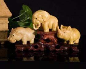 乐清小叶黄杨木雕精品/非洲三宝犀牛河马大象/尺寸参考图片/赠送檀木底座