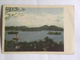 《西湖之春》明信片-从中山公园远眺湖中三岛(50年代)