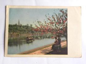 《西湖之春》明信片-锦带桥北望宝石山(50年代)