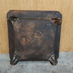 清早期老铁器   精雕花草图案四方火炭炉一个 直径48厘米 高17.5厘米 重约56斤