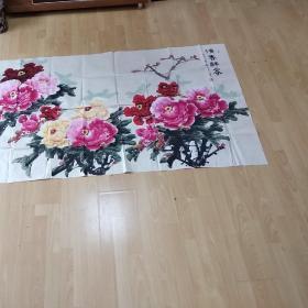 洛阳美协庄亭宣牡丹图(保真)大尺幅