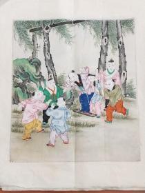[丝绸年画]。十幅画色彩鲜艳丶人物逼真丶画面细腻。有浓厚的童趣生活气氛,市场少见。私藏完好。