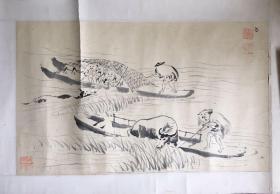 湖北画家黄石(1861-1898)渔事画家黄章启国画——农事图