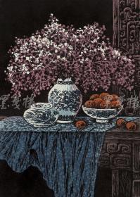 著名新徽派版画家 戴斌 2011年亲笔签名木版油印版画《 清韵融香之姹紫》一幅(版号随机,所售编号为20-60/80,作品得自于艺术家本人!)HXTX115812