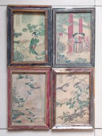 乡下收来老镜框画四副,手绘老画。老框老画原装原裱历史感明显,保存完整,尺寸约长30宽21厚2厘米,成色品相如图。