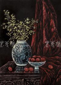 著名新徽派版画家 戴斌 2011年亲笔签名木版油印版画《清韵融香之迎春》一幅(版号随机,所售编号为20-60/80,作品得自于艺术家本人!) HXTX115813