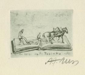 近代西洋藏书票 捷克艺术家 亚历克斯·阿道夫 蚀刻版 藏书票 1929年 签名