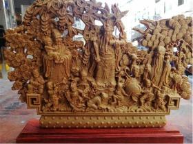 崖柏福禄寿摆件三星喜财木雕佛像家居摆件木质实木红木雕刻工艺品
