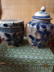 俩个青花罐子
