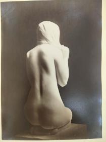 老 照片 德国 二十世纪初 美女雕像 20.5x23 16x22cm