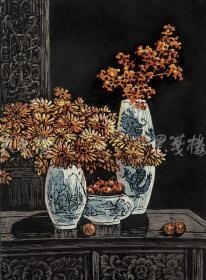 著名新徽派版画家 戴斌 2011年亲笔签名木版油印版画《清韵融香之绚丽》一幅( 版号随机,所售编号为20-60/80,作品得自于艺术家本人!)HXTX115814