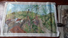 老油画:  乡村风光  长110厘米*72厘米 ,年代不详【油画40】
