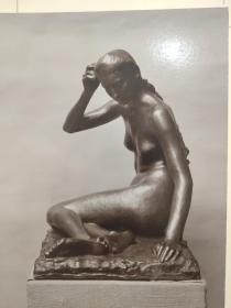 老 照片 德国 二十世纪初 美女雕像 20x25 14x18cm